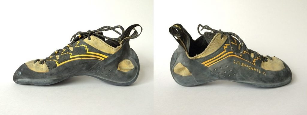 Profiles of the Katana Lace climbing shoe