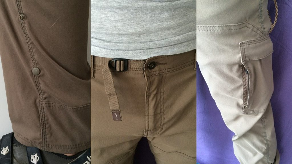 The features of the prAna Stretch Zion Pants