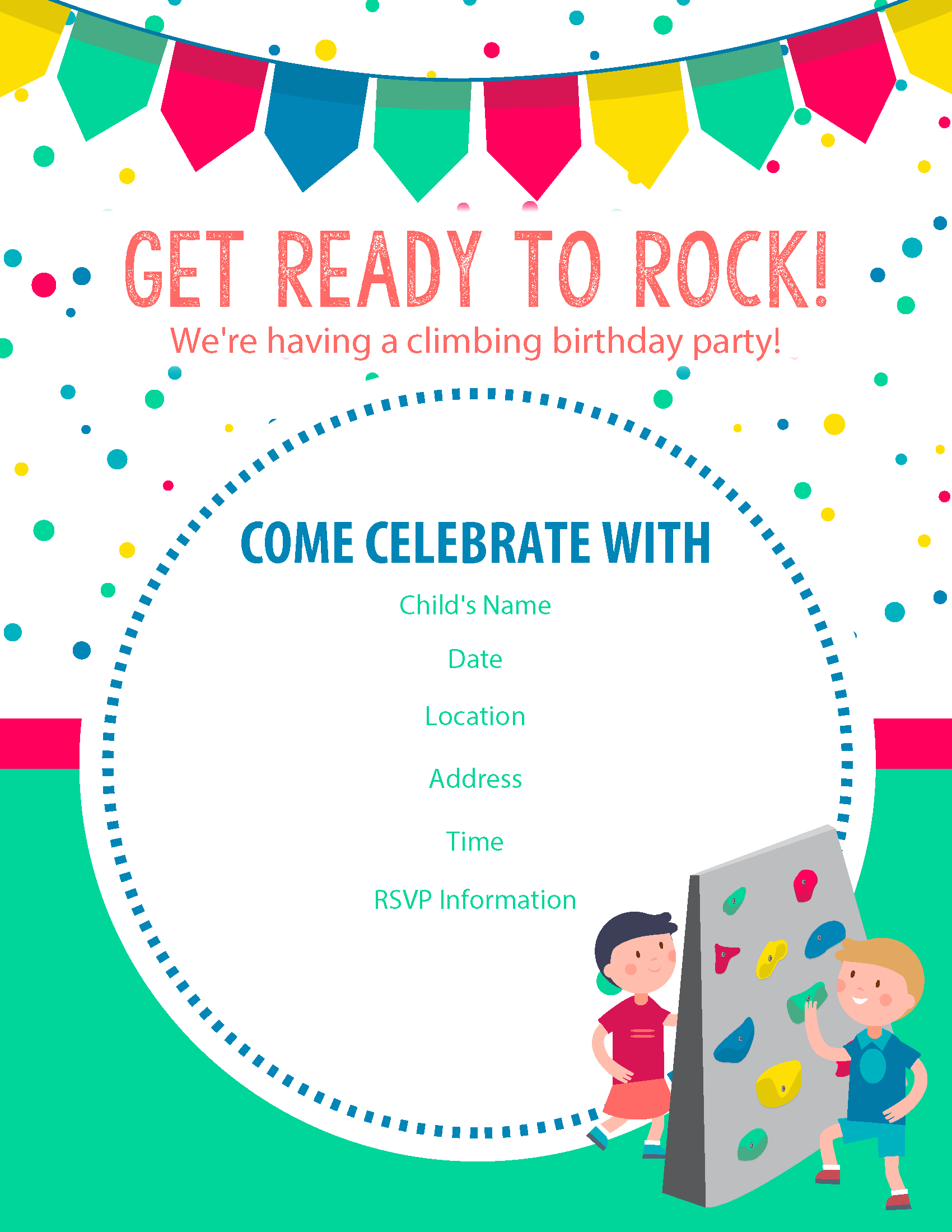 One Of Our Free Rock Climbing Birthday Party Invitations