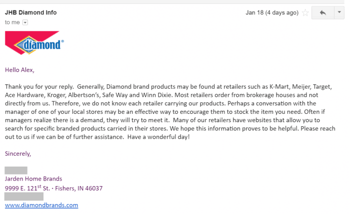 An email from Jarden Home Brands, maker of Diamond brand products, explaining in which stores one can find Diamond products