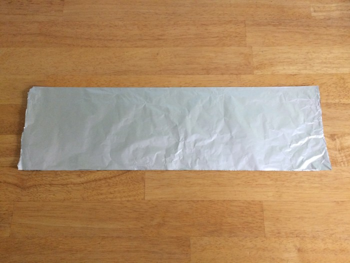 Folded sheet of aluminum foil