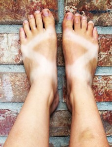 An epic Z tan line from wearing chacos