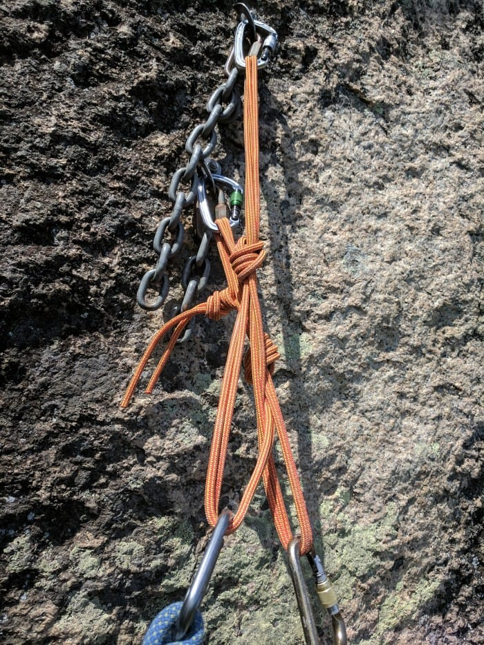An anchor using the Black Diamond Positron and Mad Rock Ultra-Tech Screw