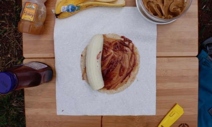 Step 5: Peel the banana and lay it directly on the edge of your tortilla
