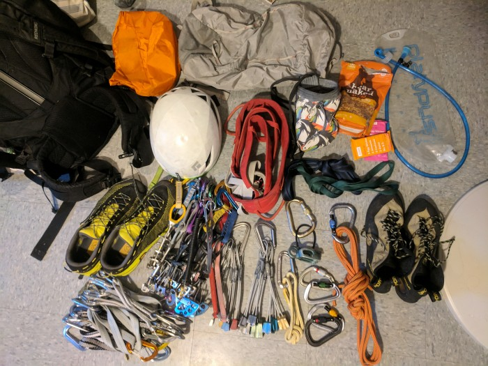 Multi-pitch climbing gear