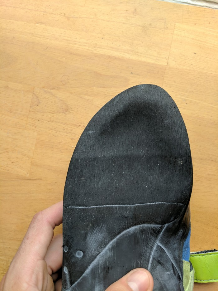 The sole of a climbing shoe after a half resole