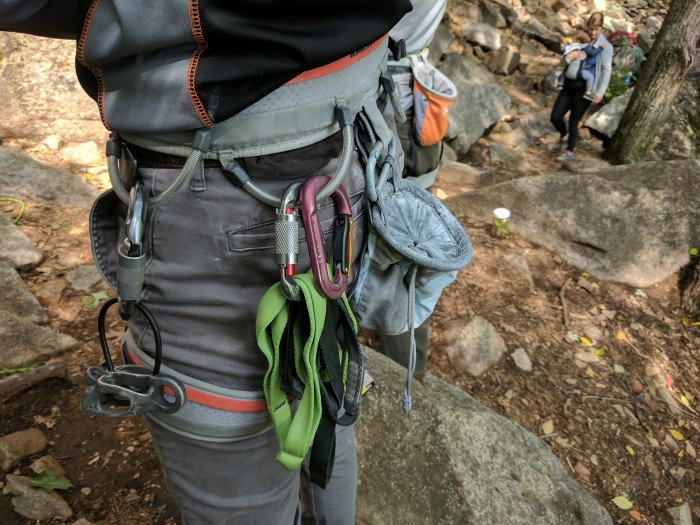 Slings, lockers, chalk bags, and a trusty belay device