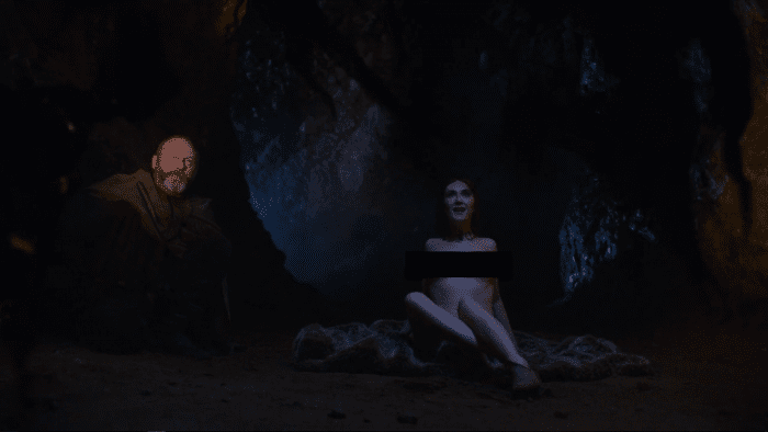 Melisandre and Davos at the Potato Cave