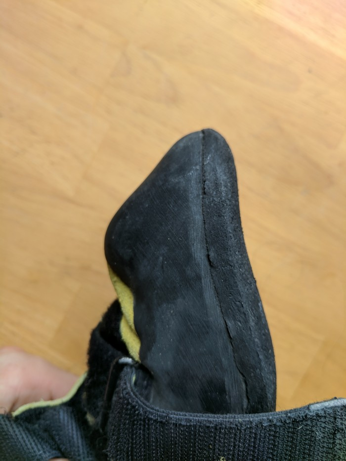 A pair of climbing shoes not yet in need of a resole