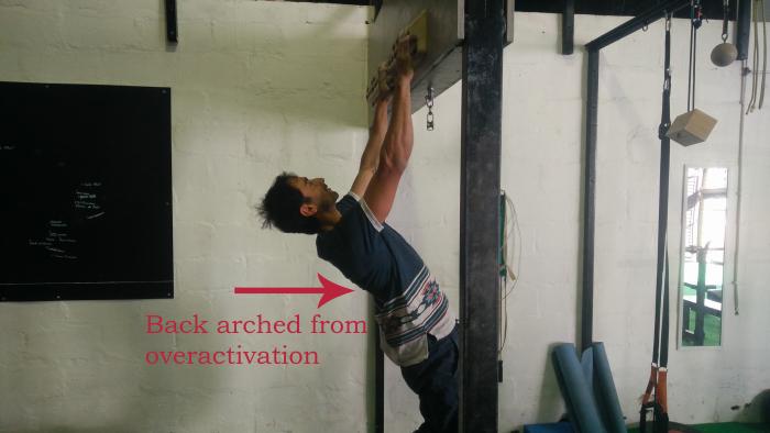 Ein zu weites Zurückziehen der Schultern ist schlecht, da es Ihre Brust aktiviert und Ihren Rücken biegt