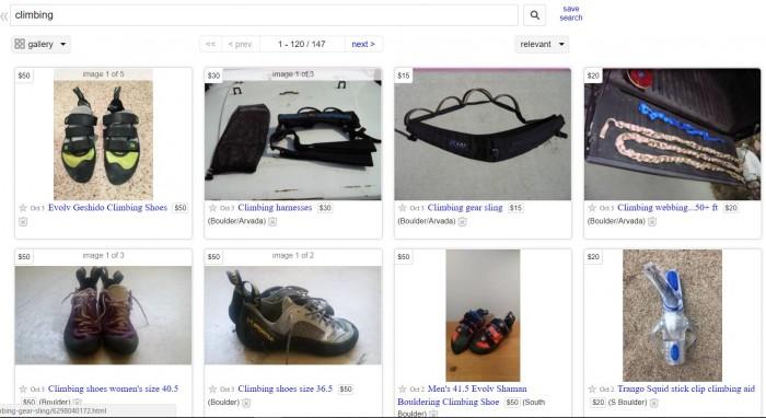 Using Craigslist to find cheap climbing gear