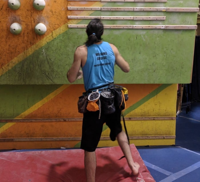 Testing the eight different chalk bags in the climbing gym