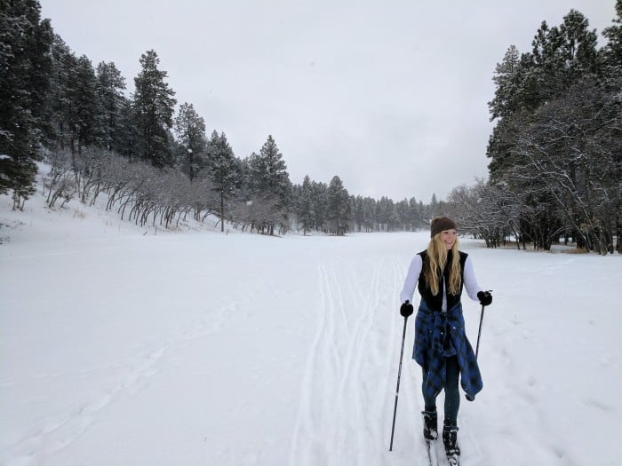 Cross-country skiing while wearing Darn Tough socks