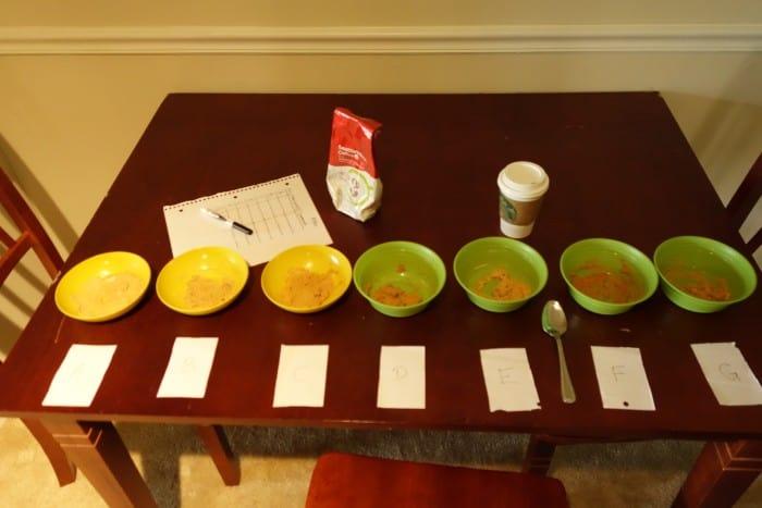 7 bowls of peanut butter