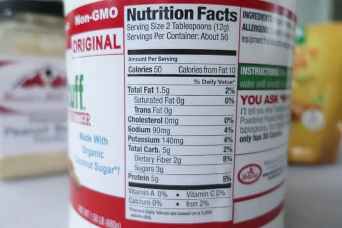 Betty Lou's Nutrition Facts label