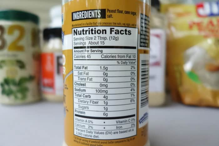 Peanut Butter & Co. Nutrition Facts label