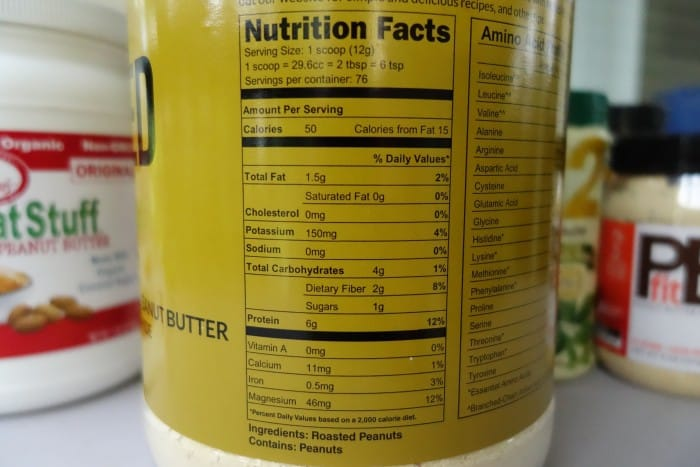 Naked PB Nutrition Facts label