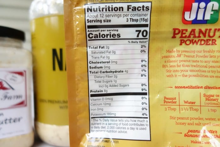 Jif Nutrition Facts label