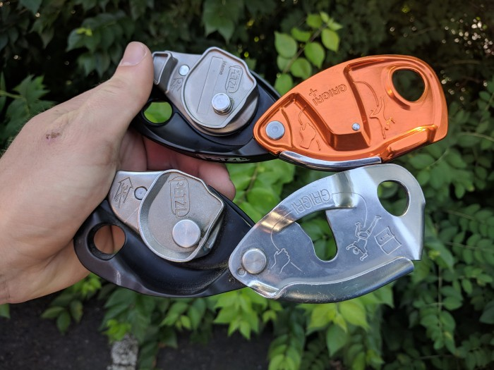 Side-by-side of the cams and face-plates of the GriGri + and GriGri 2