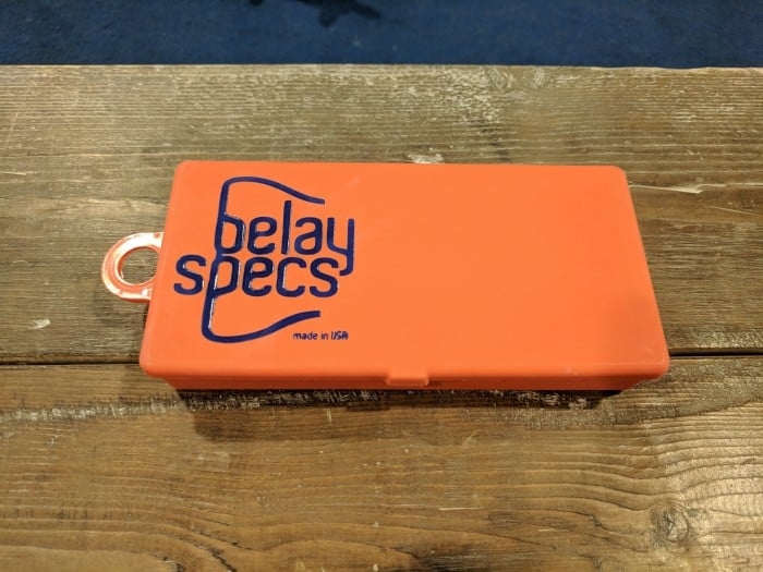 The carrying case for the Belay Specs