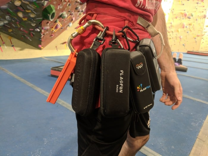Testing the belay glasses at the climbing gym