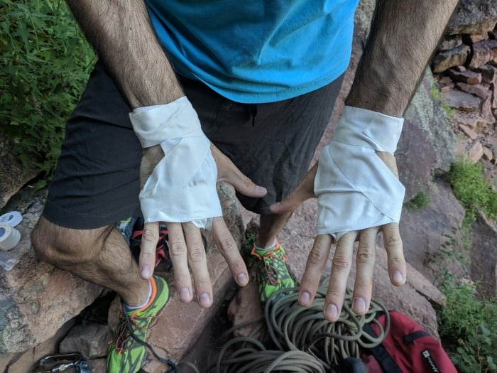 Crack climbing gloves made with 1.5-inch climbing tape