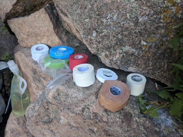The 7 different brands of climbing tape we tested.