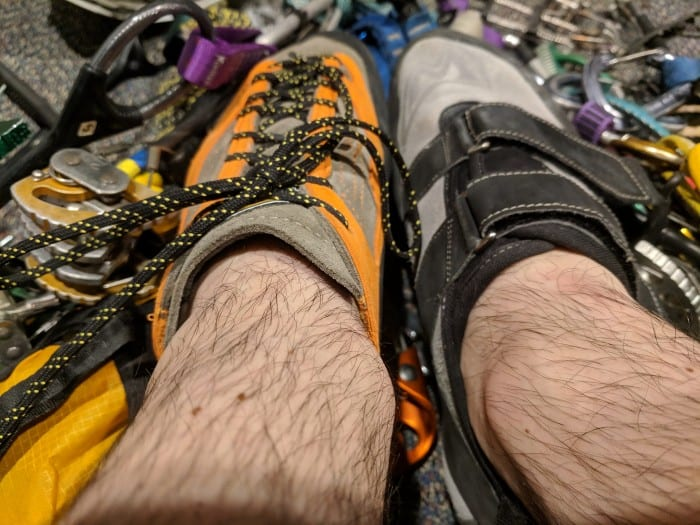 Lace-up climbing shoe vs. velcro climbing shoe