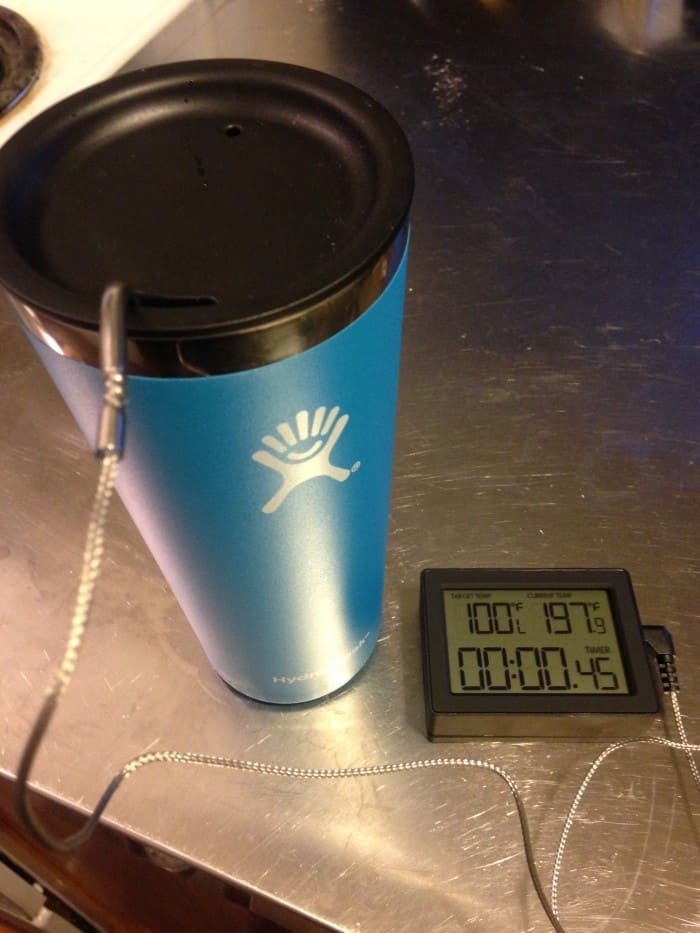 Performing a heat retention test with the Hydro Flask Tumbler