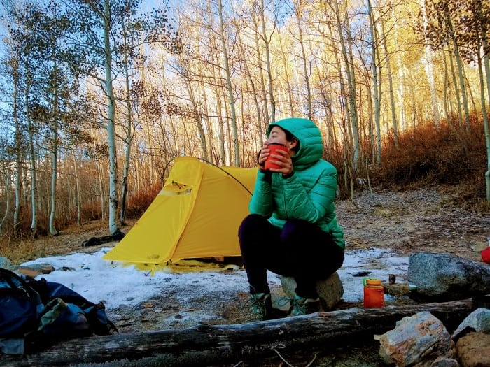 Drinking out of the GSI Outdoors Infinity Backpacker Mug on a cold morning in the backcountry