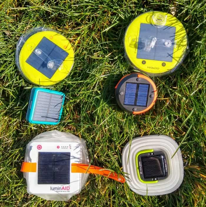 Testing the solar charging abilities of each lantern