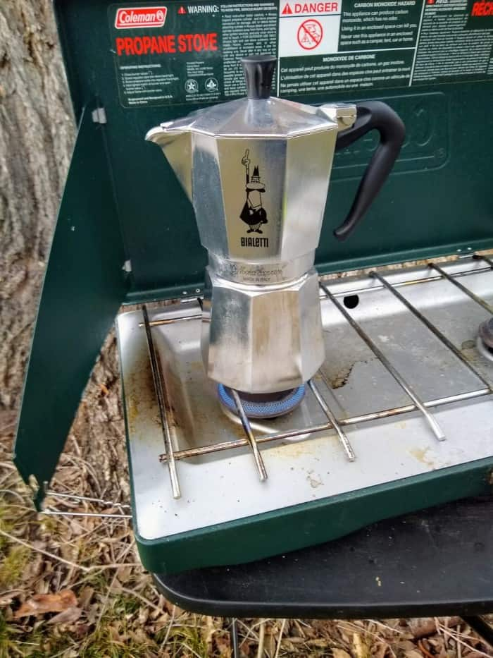 The Bialetti Moka Express on our camp stove.