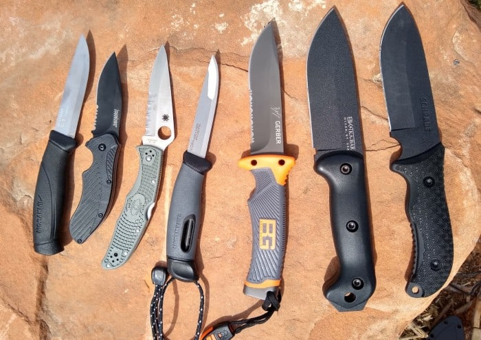 The seven camping knives we tested.
