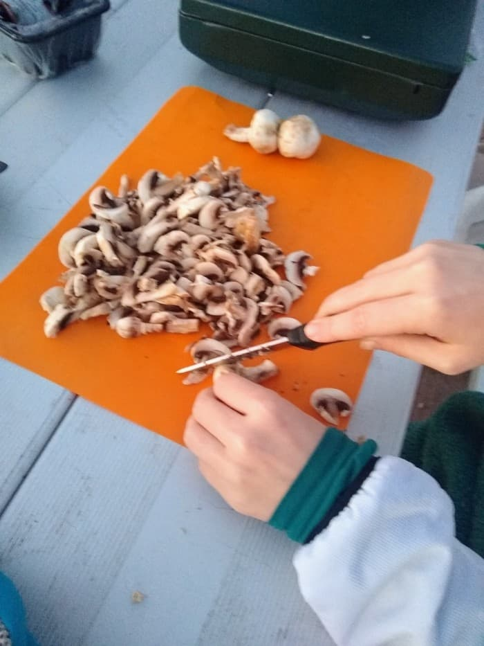 Slicing mushrooms during our field testing.