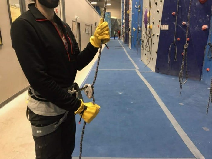 Belaying in the Wells Lamont Grain Cowhide Work Gloves.