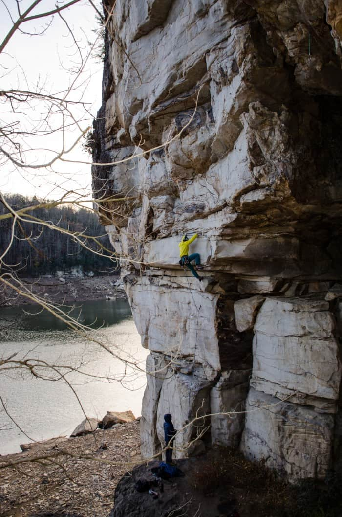 Sport climbing at the New River Gorge.