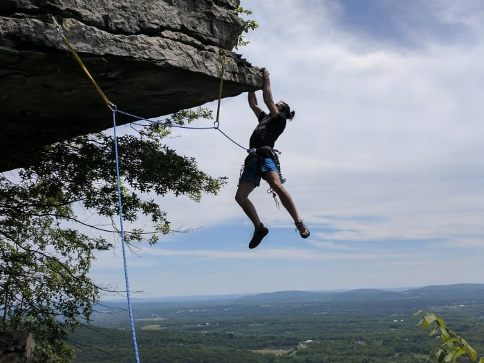 Dangling on a trad climb at the Gunks.