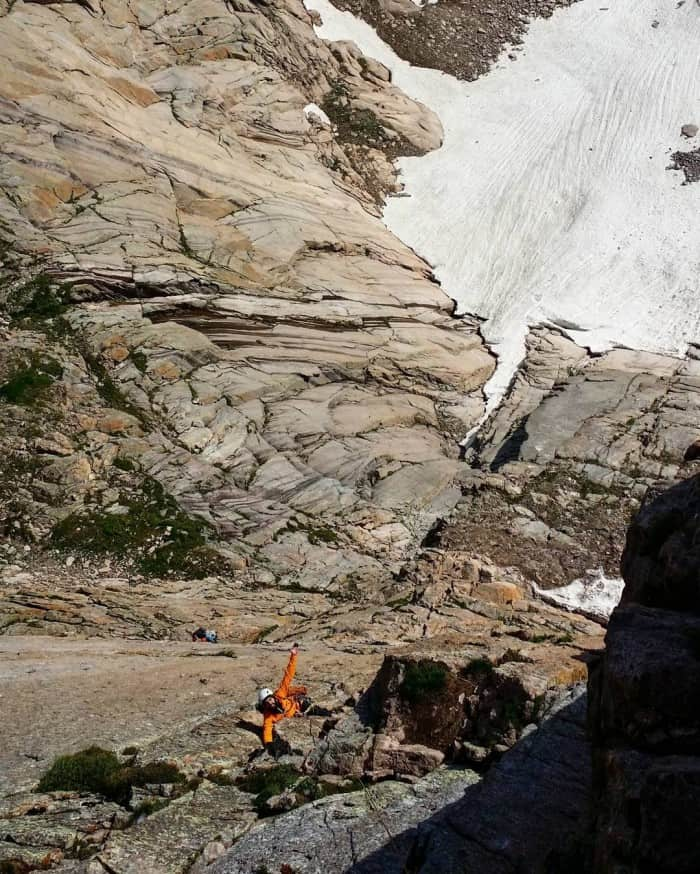 Climbing with a helmet on the Diamond on Longs Peak.