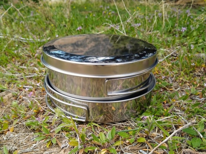 The stainless steel of the Snow Peak Personal Cooker.
