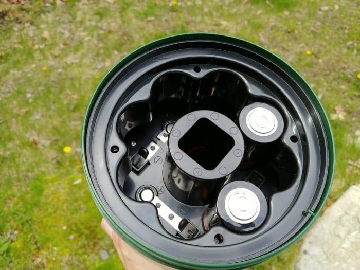 The battery compartment of the Coleman Twin LED Lantern.