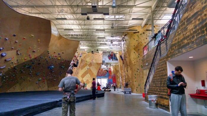 A modern climbing gym.