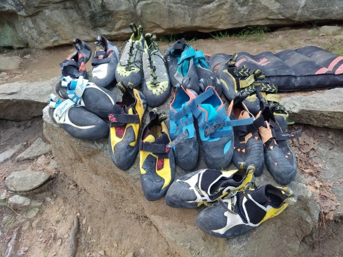 The 9 pairs of bouldering shoes we tested.