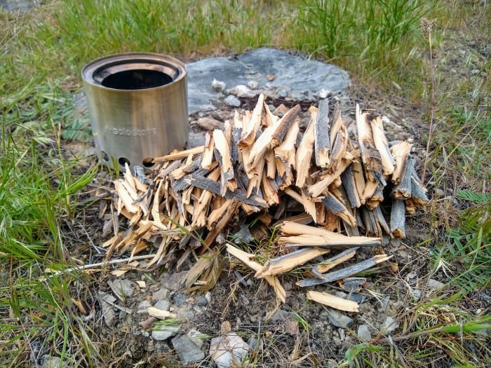 Collecting wood for the Solo Stove Lite.