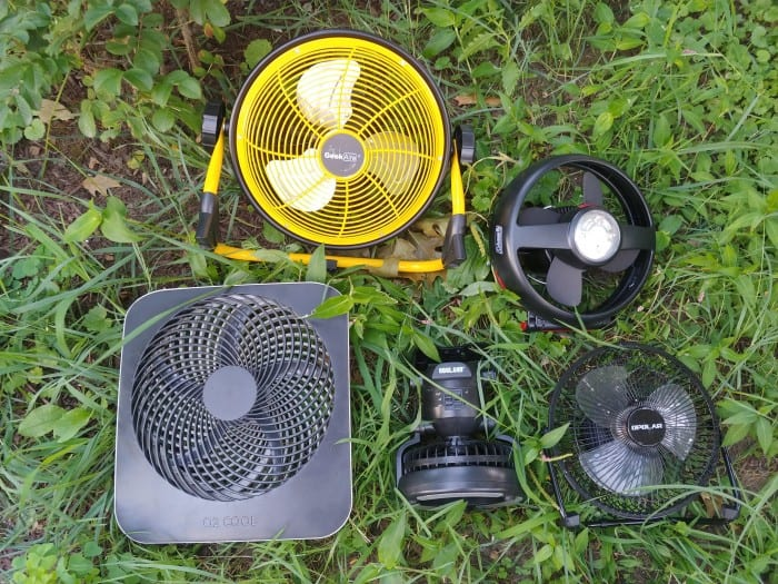 The 5 fans we tested.