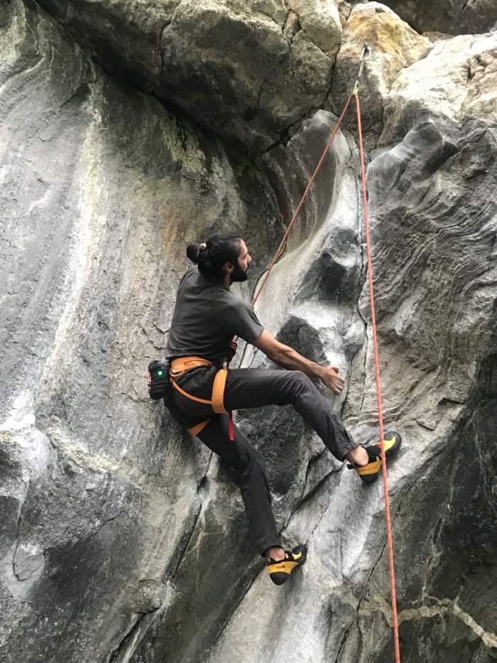 Starting up a sport climb with the Black Diamond Hot Forge Heated Chalk Bag.