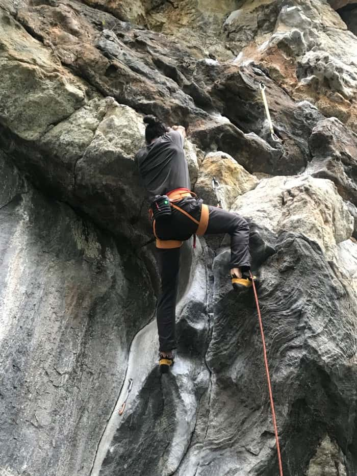 Mid-climb with the Hot Forge Heated Chalk Bag.