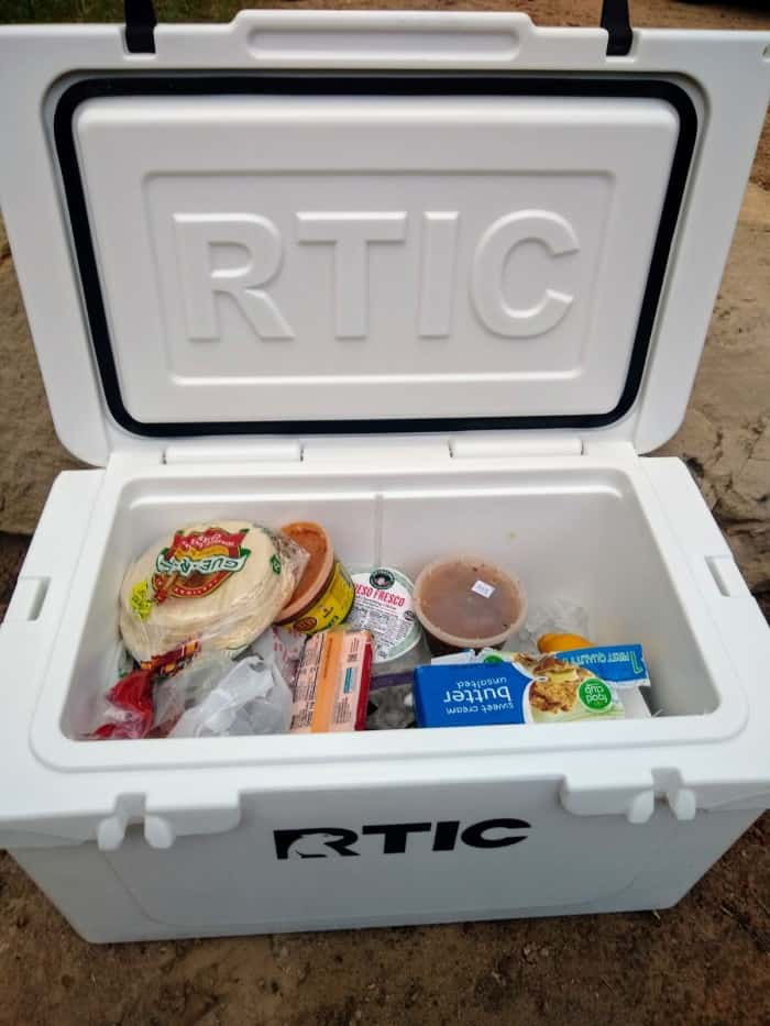 The RTIC 45 filled with supplies.