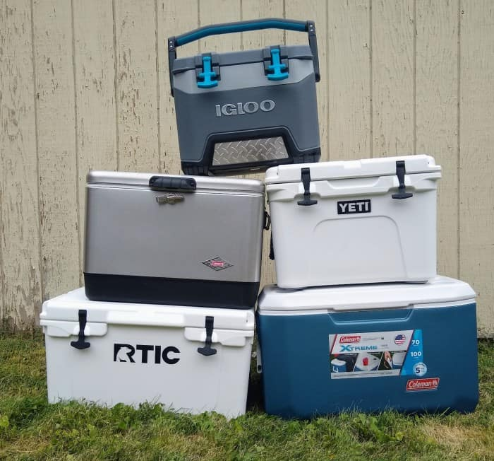 The five coolers we tested.