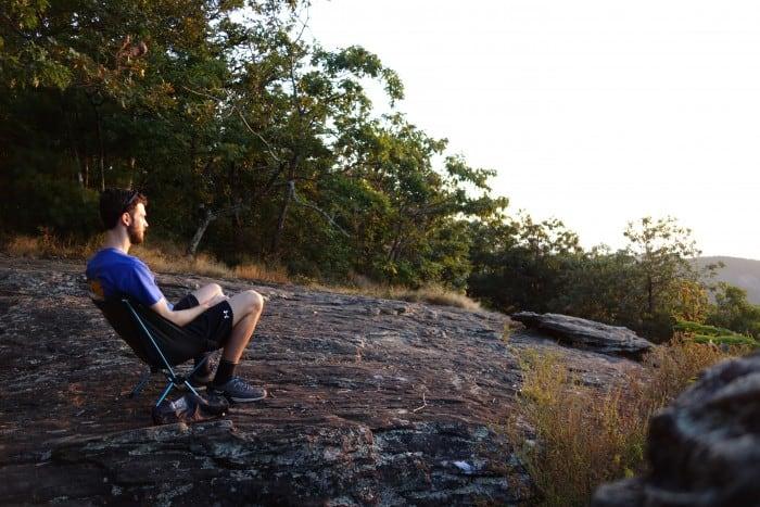 Watching the sunrise in the Helinox Chair Zero.