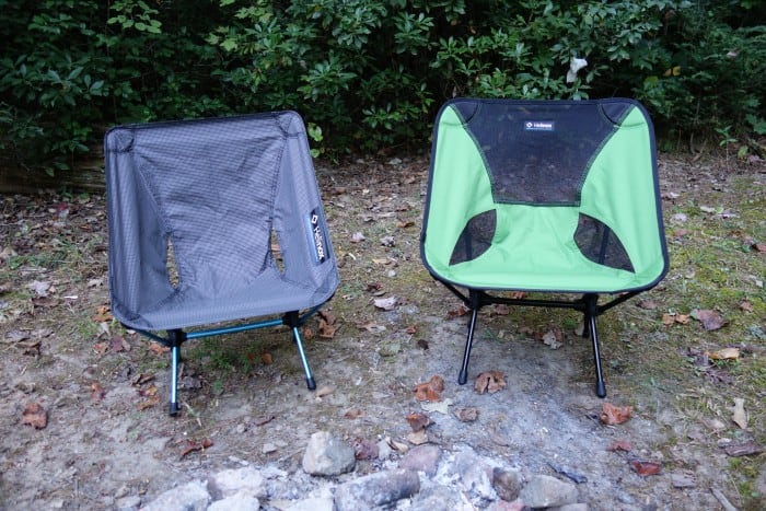 The Helinox Chair Zero (left) next to the Helinox Chair One
